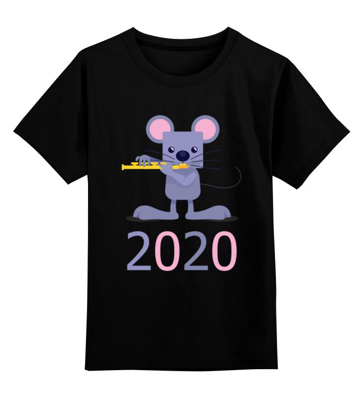 Купить 0000002895874, Детская футболка Printio Мышка цв.черный р.128,