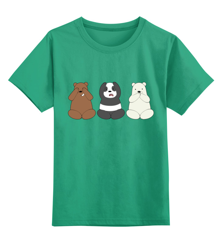Детская футболка Printio Медведи и панда цв.зеленый р.128 0000002929846 по цене 990
