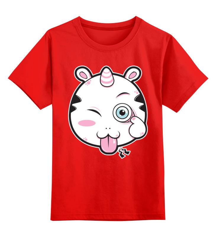 Купить 0000002963877, Детская футболка Printio Единорог unicorn цв.красный р.128,