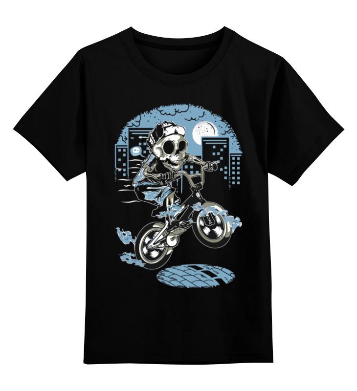 Детская футболка Printio Скелет на мотоцикле цв.черный р.128 0000002996752 по цене 990