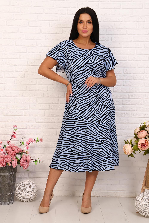 Платье женское Миллена Шарм 15547 голубое 56 RU