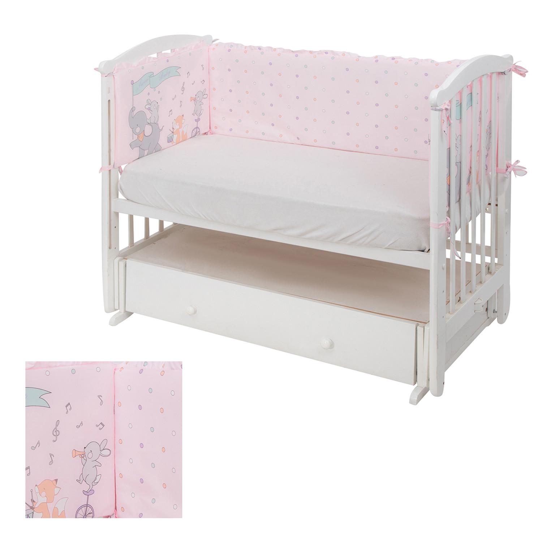 Борт в детскую кроватку Leader kids Цирк, розовый