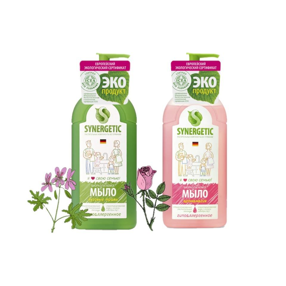 Набор Synergetic мыло жидкое луговые травы, аромамагия 2 шт 500 мл фото