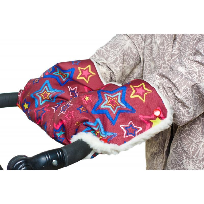 Купить Муфта меховая для рук на коляску Чудо-Чадо Комфорт звёзды, Муфты на коляску