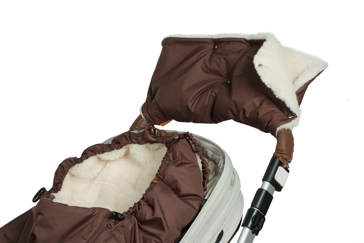 Купить Муфта меховая для рук на коляску Чудо-Чадо Классика шоколадная, Муфты на коляску