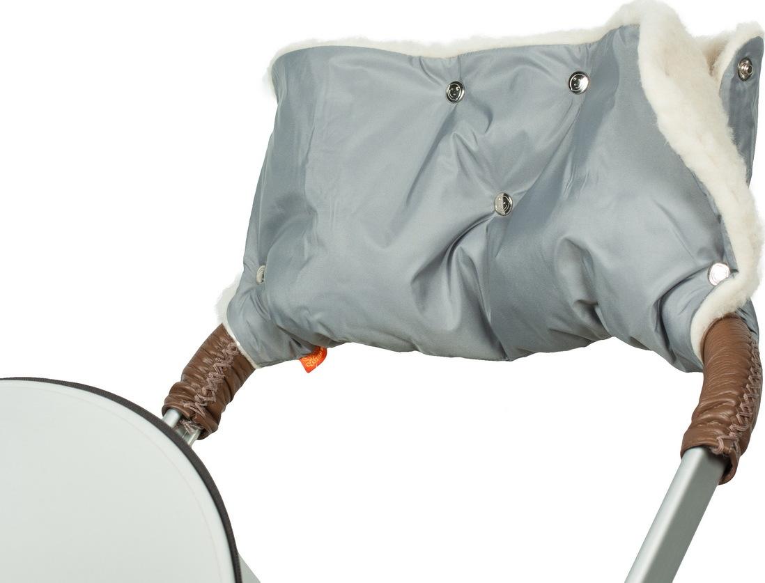 Муфта меховая для рук на коляску Чудо-Чадо Комфорт серебристый