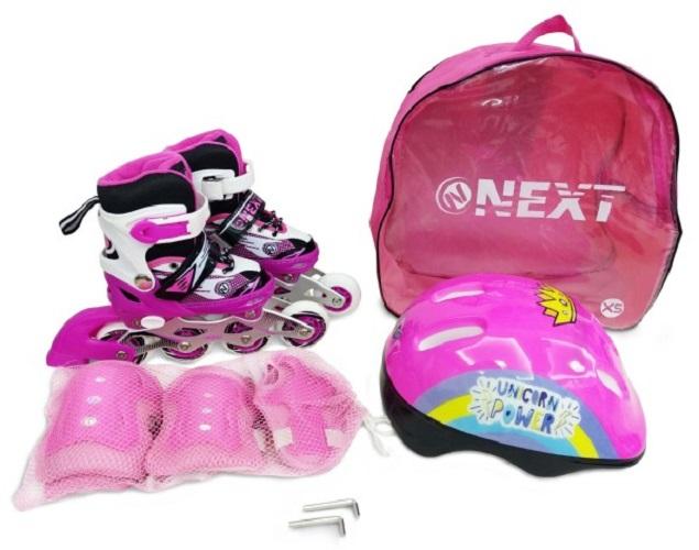 Купить Набор в рюкзаке Next шлем, комплект защиты, ролики раздвижные розовые, размер 27-30, Роликовые коньки