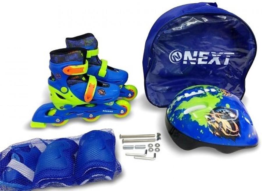 Купить Набор в рюкзаке Next шлем, комплект защиты, ролики раздвижные синие, размер 31-34, Роликовые коньки