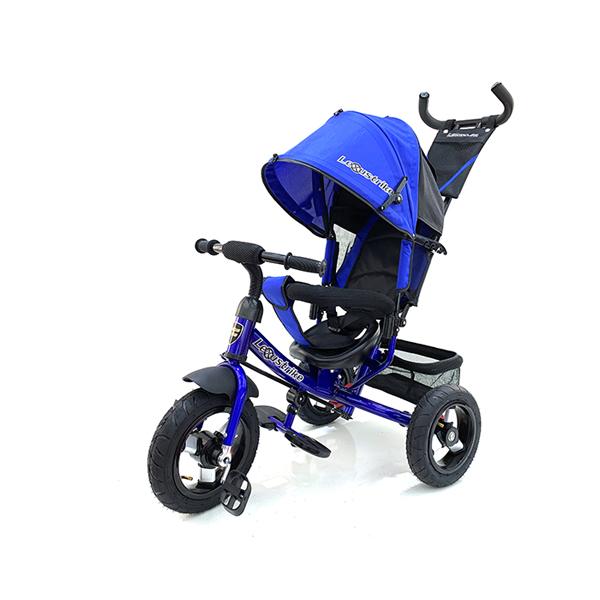 Велосипед трехколесный Lexus Trike со светомузыкой темно-синий, колеса надувные 12\