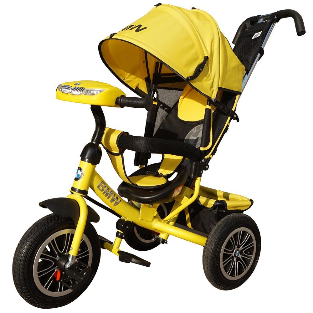 Велосипед трехколесный Lexus Trike BMW со светомузыкой желтый, колеса надувные 12\