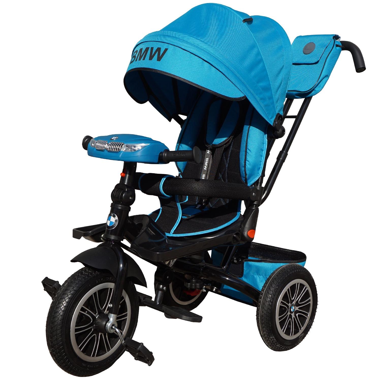 Велосипед трехколесный Lexus Trike BMW со светомузыкой голубой, колеса надувные 12\
