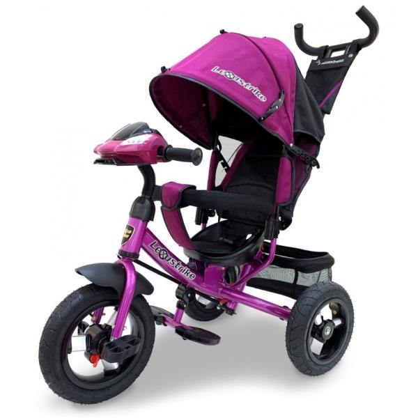 Велосипед трехколесный Lexus Trike со светомузыкой малиновый, колеса надувные 12\