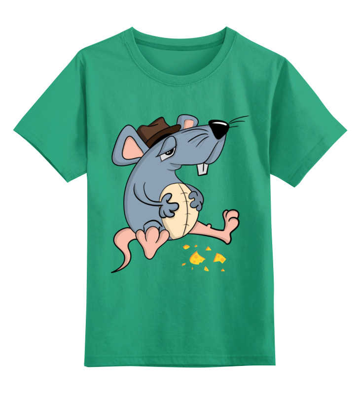 Купить 0000002894679, Детская футболка Printio Крыса цв.зеленый р.116,