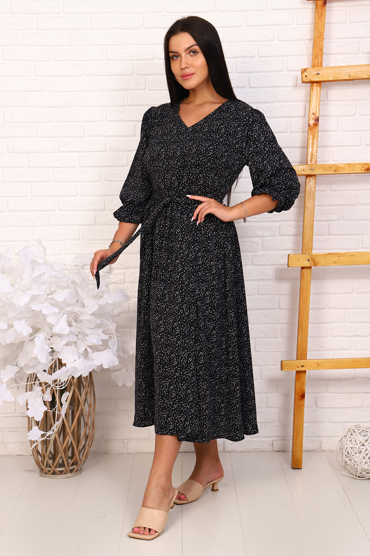Платье женское Миллена Шарм 31529 черное 54 RU