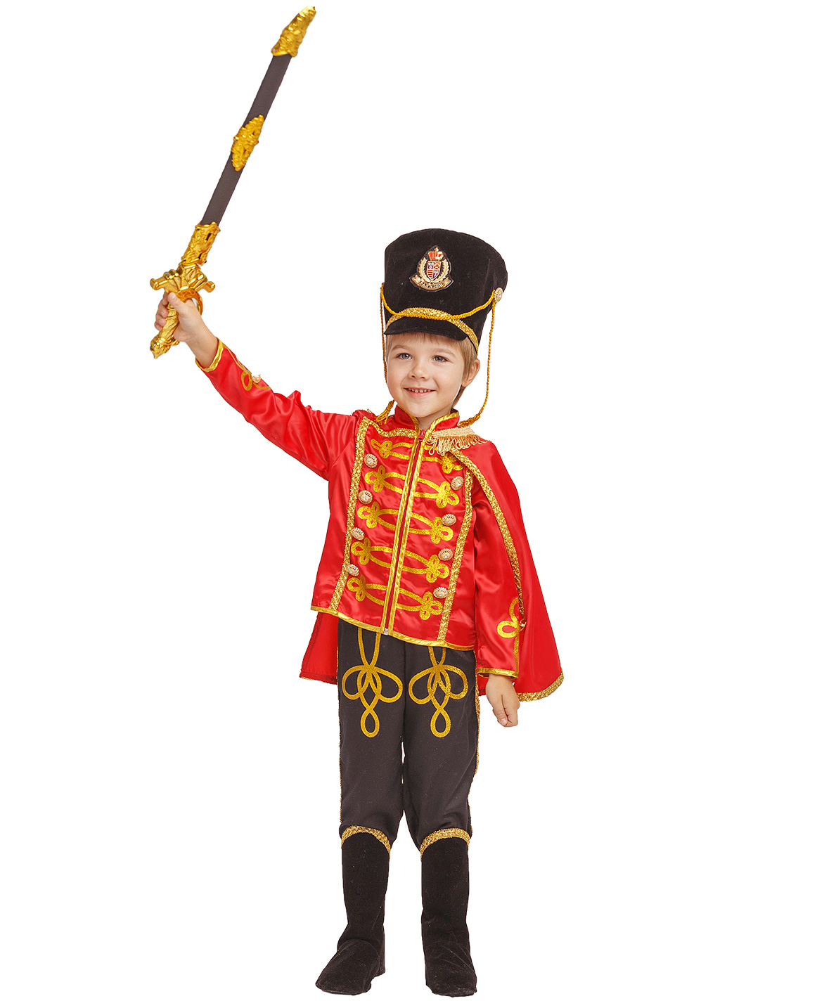 Карнавальный костюм Батик Гусар, цв. черный; красный
