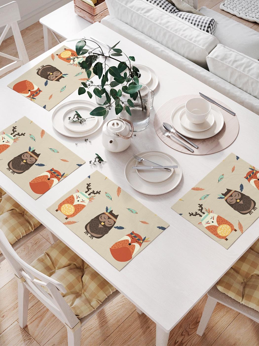 Комплект салфеток для сервировки стола «Сова, олень и лиса» (32х46 см, 4 шт.)