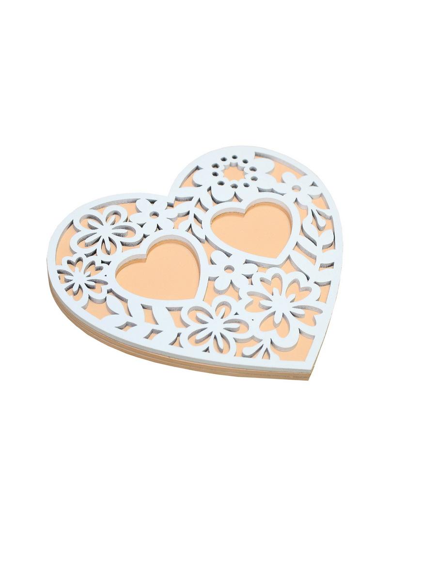 Сердечко под кольца с цветами КАНЫШЕВЫ персиковый,