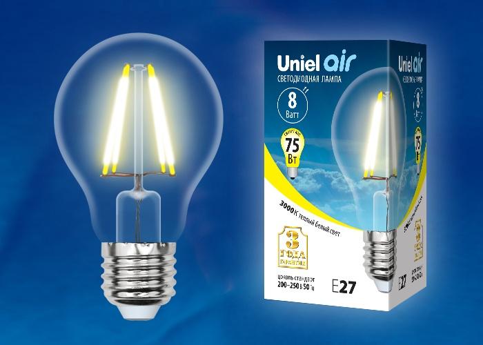 Лампа Uniel LED-A60-8W/WW/E27/CL LED-A60-8W/WW/E27/CL (UL-00002210)