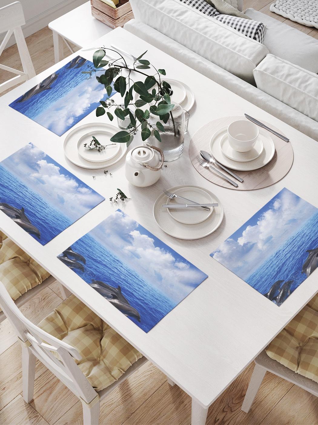 Комплект салфеток для сервировки стола «Прыгающие дельфины» (32х46 см, 4 шт.)