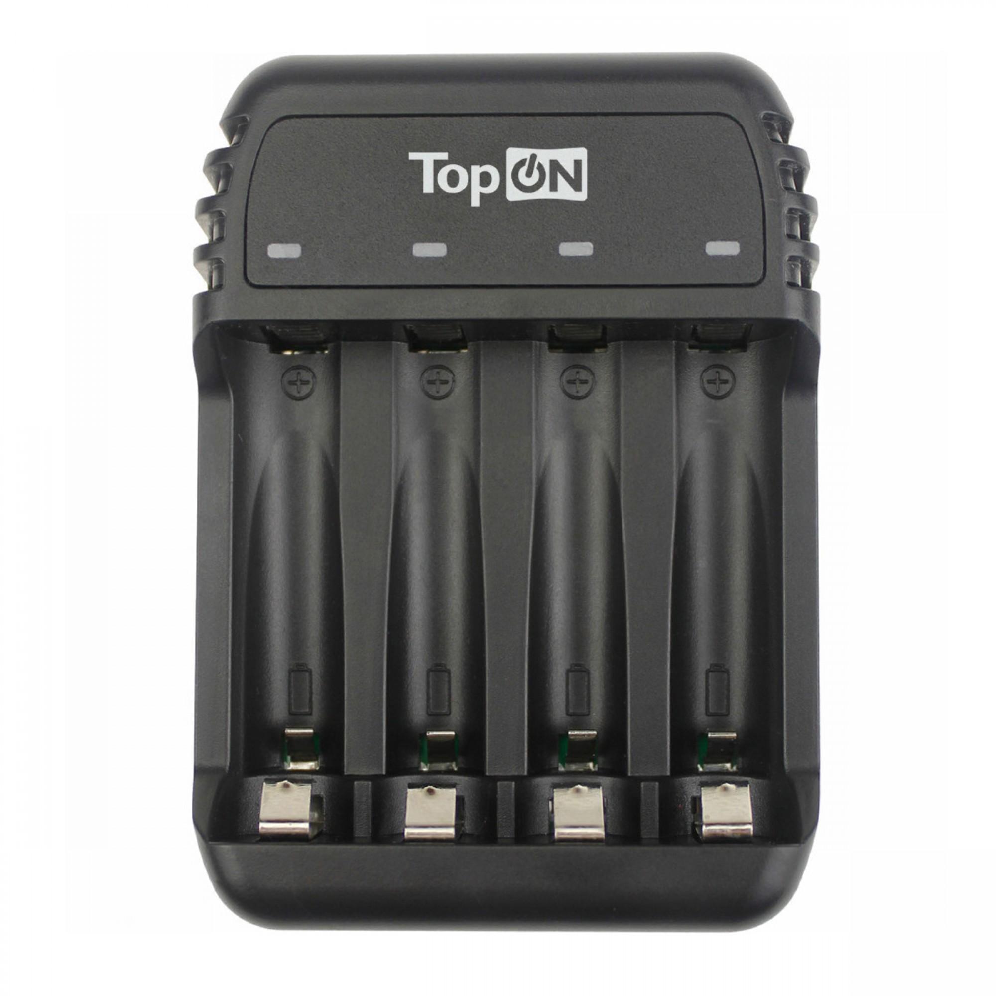 Зарядное устройство для аккумуляторных батареек TopON Black