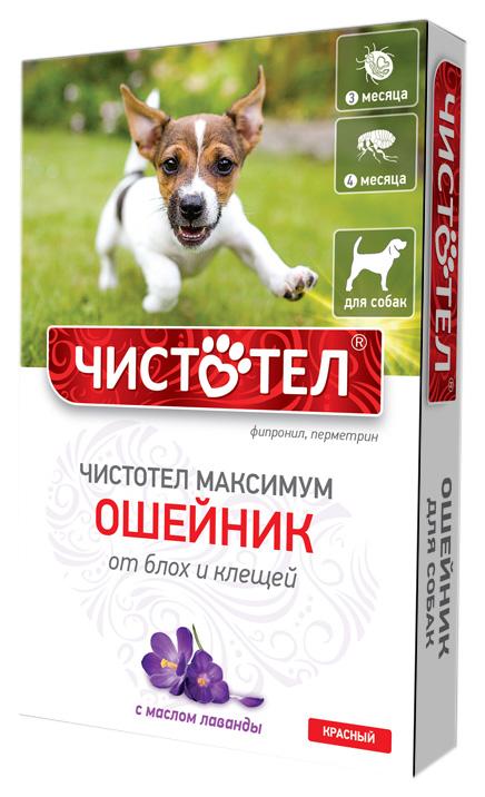 Ошейник для собак против блох и клещей Чистотел Максимум красный, 65 см