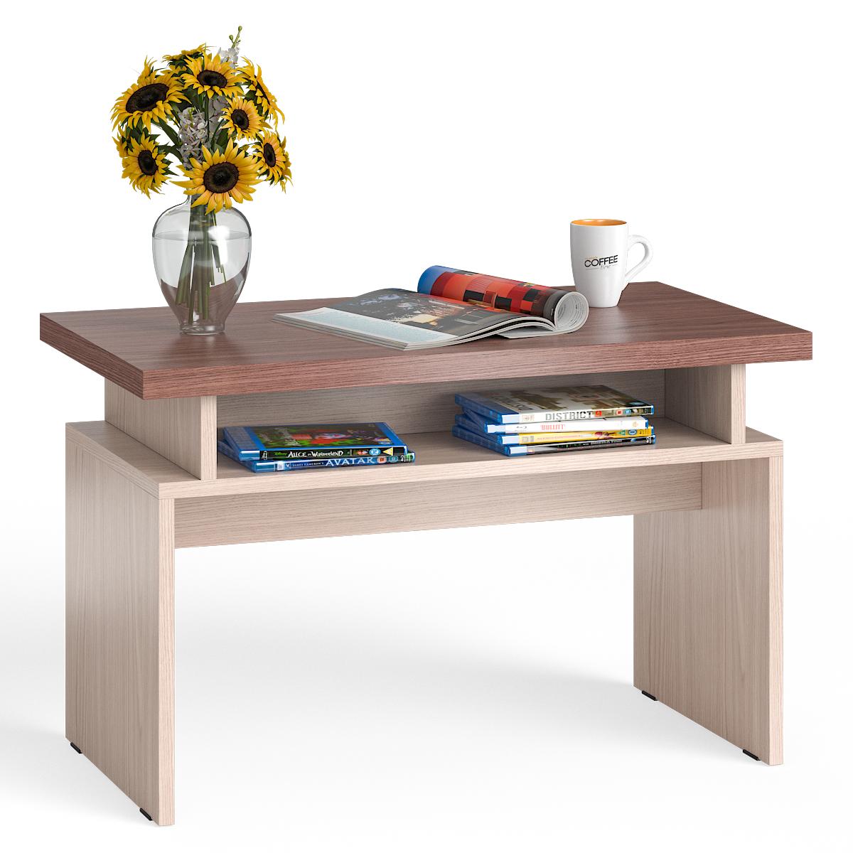 Стол журнальный Мебельный Двор СЖ-13 ясень шимо светлый/тёмный, 80,5х45,5х50 см