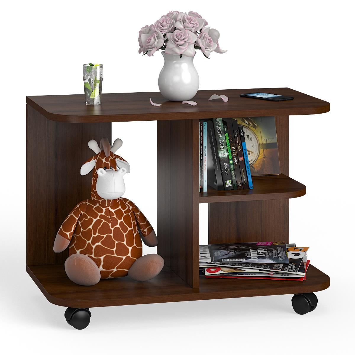 Стол журнальный на колёсиках Мебельный Двор СЖ-11 орех, 80х45х56 см