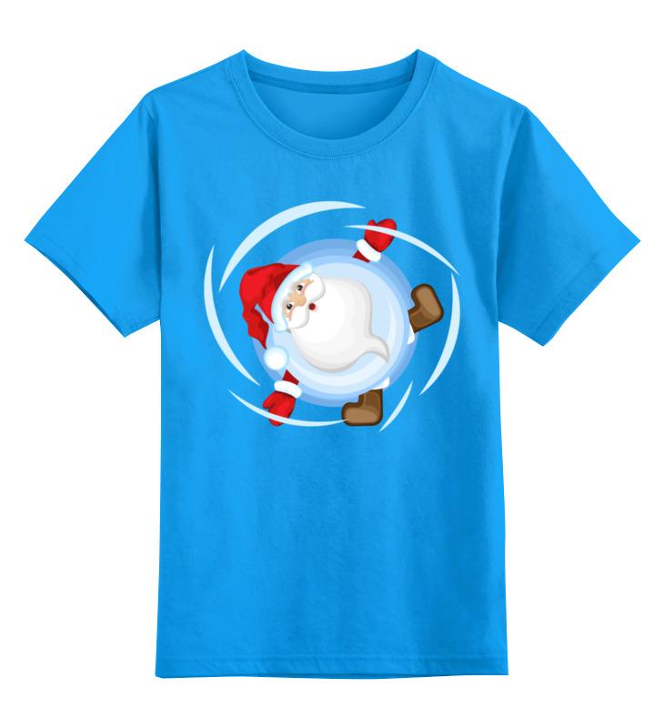 Купить 0000002872302, Детская футболка Printio Санта дед мороз в снежном шаре цв.голубой р.164,