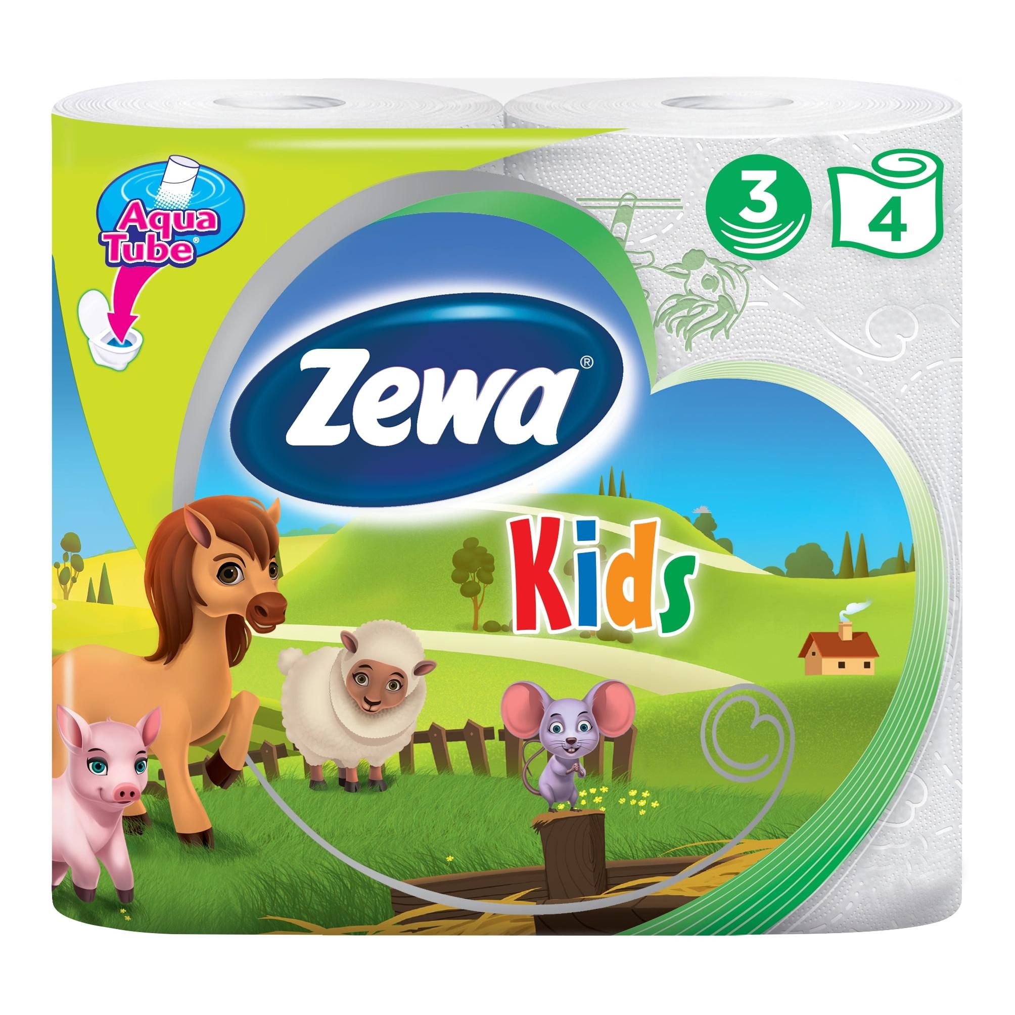 Туалетная бумага Zewa Kids Детская, 3 слоя, 4 рулона