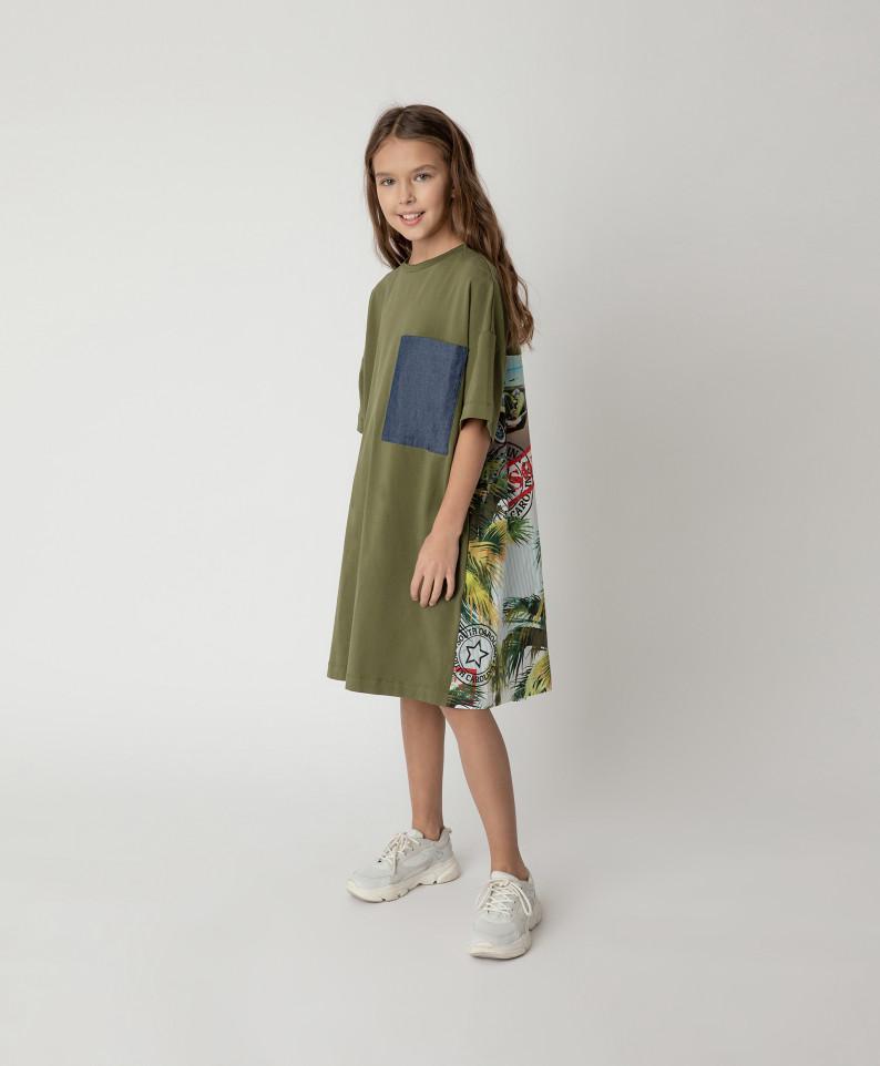 Купить 12108GJC5002, Платье Gulliver для девочек цв. хаки р-р. 140,