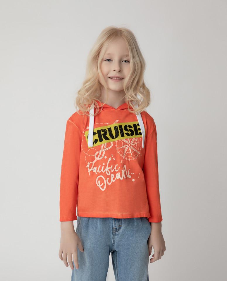 Купить 12102GMC1209, Толстовка Gulliver для девочек цв. оранжевый р-р. 104,