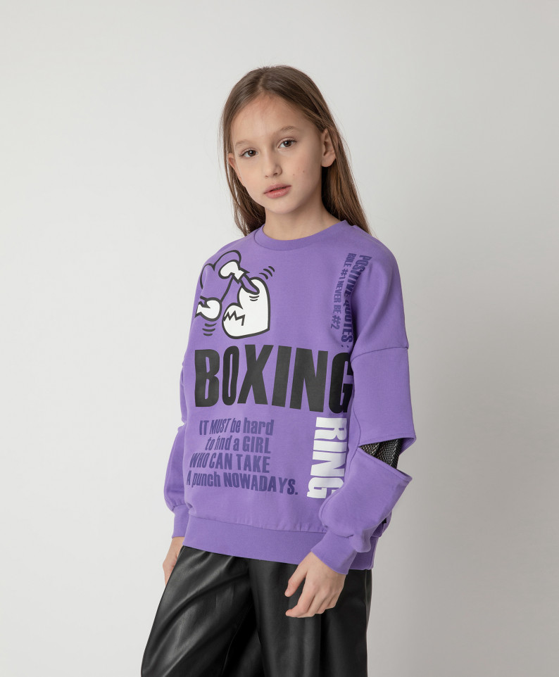 12109GJC1604, Толстовка Gulliver для девочек цв. фиолетовый р-р. 140,  - купить со скидкой