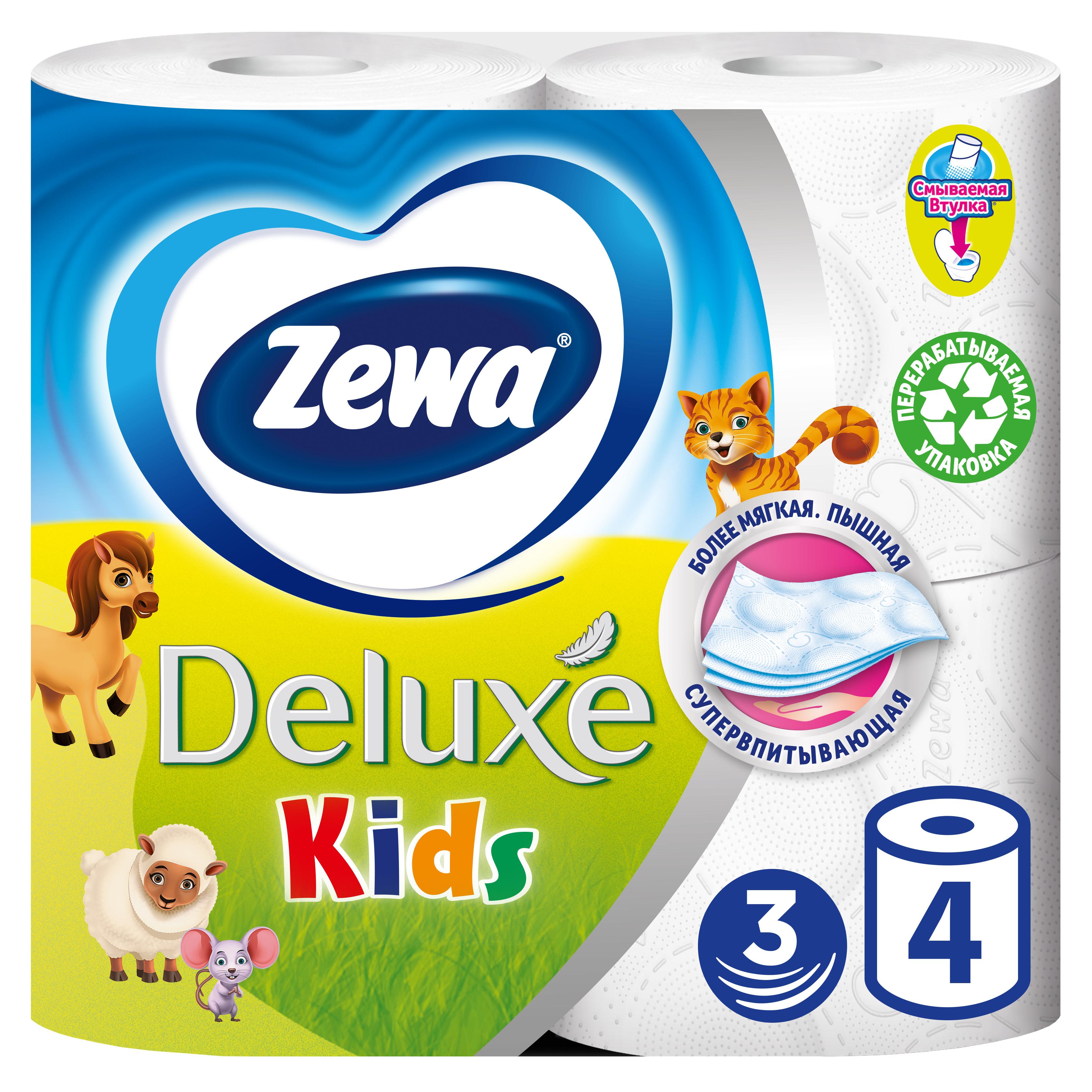 Купить Туалетная бумага Zewa Kids Детская, 3 слоя, 4 рулона, туалетная бумага 5622