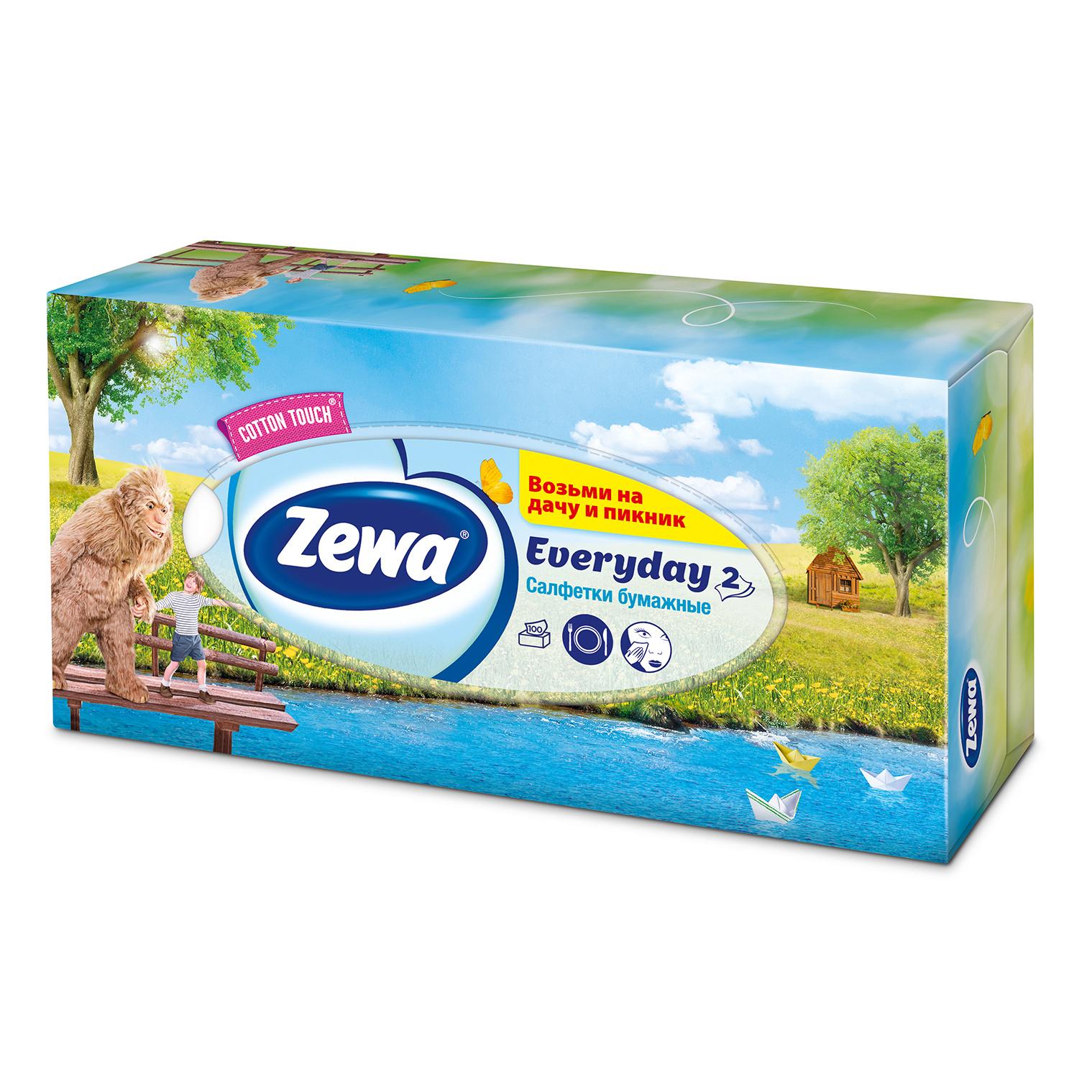 Салфетки Zewa Everyday бумажные косметические 2 слоя 100 штук фото