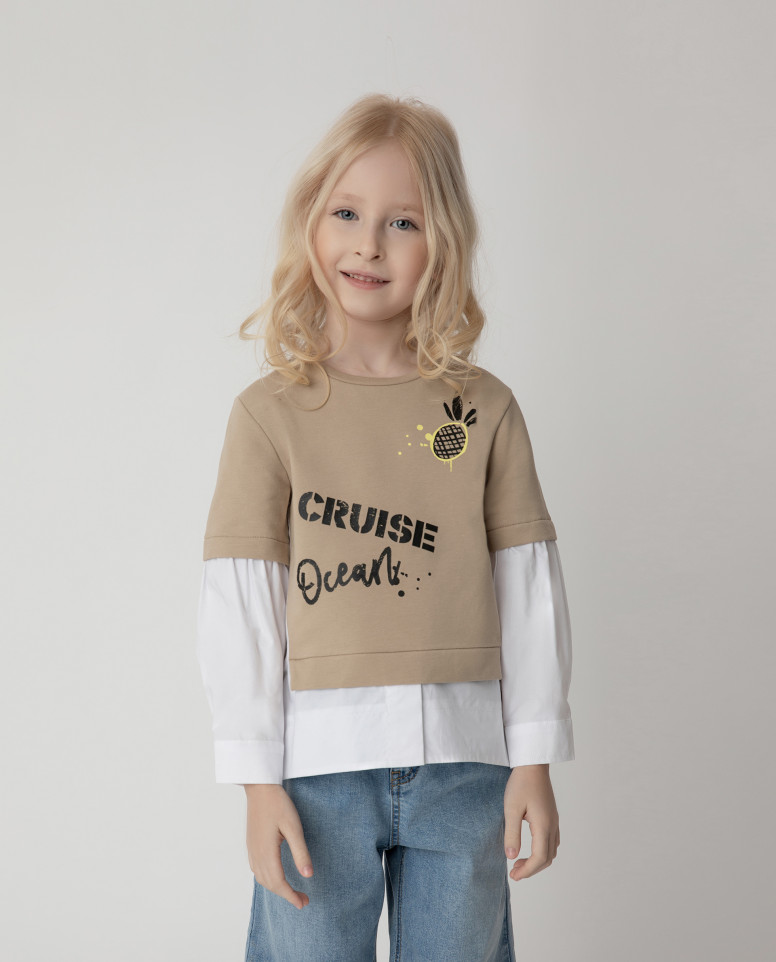 Купить 12102GMC1610, Толстовка Gulliver для девочек цв. бежевый р-р. 98,