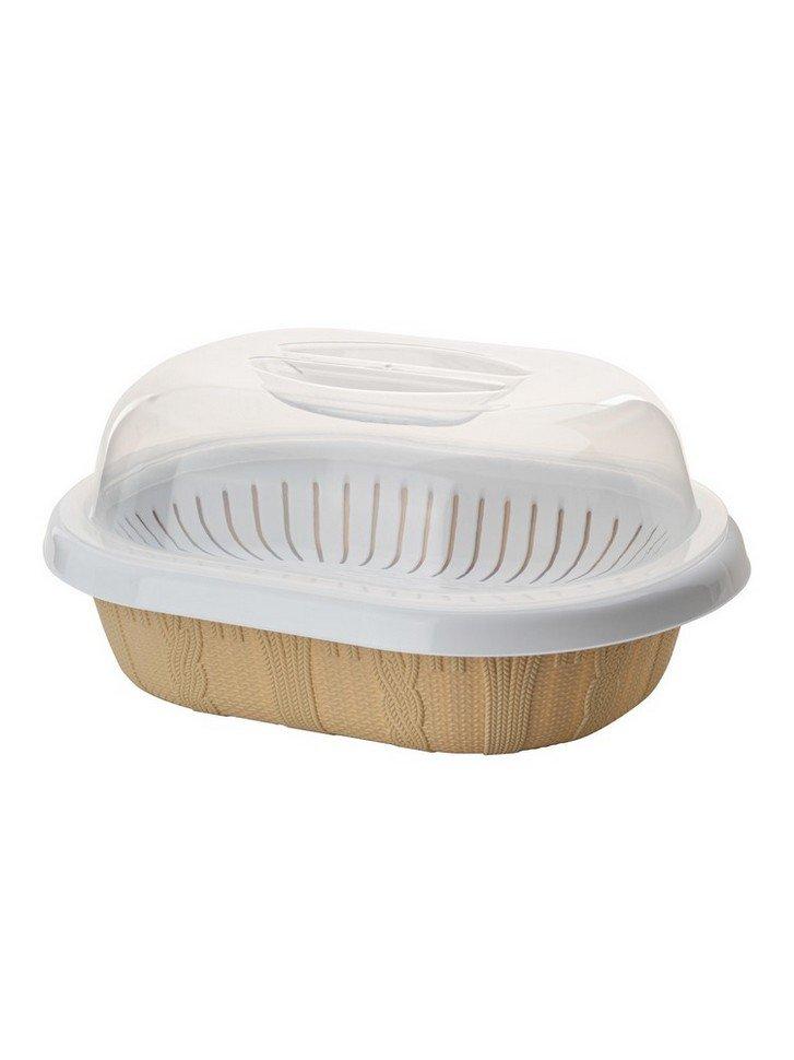 Хлебница настольная ElfPlast Плетенка, бежевый