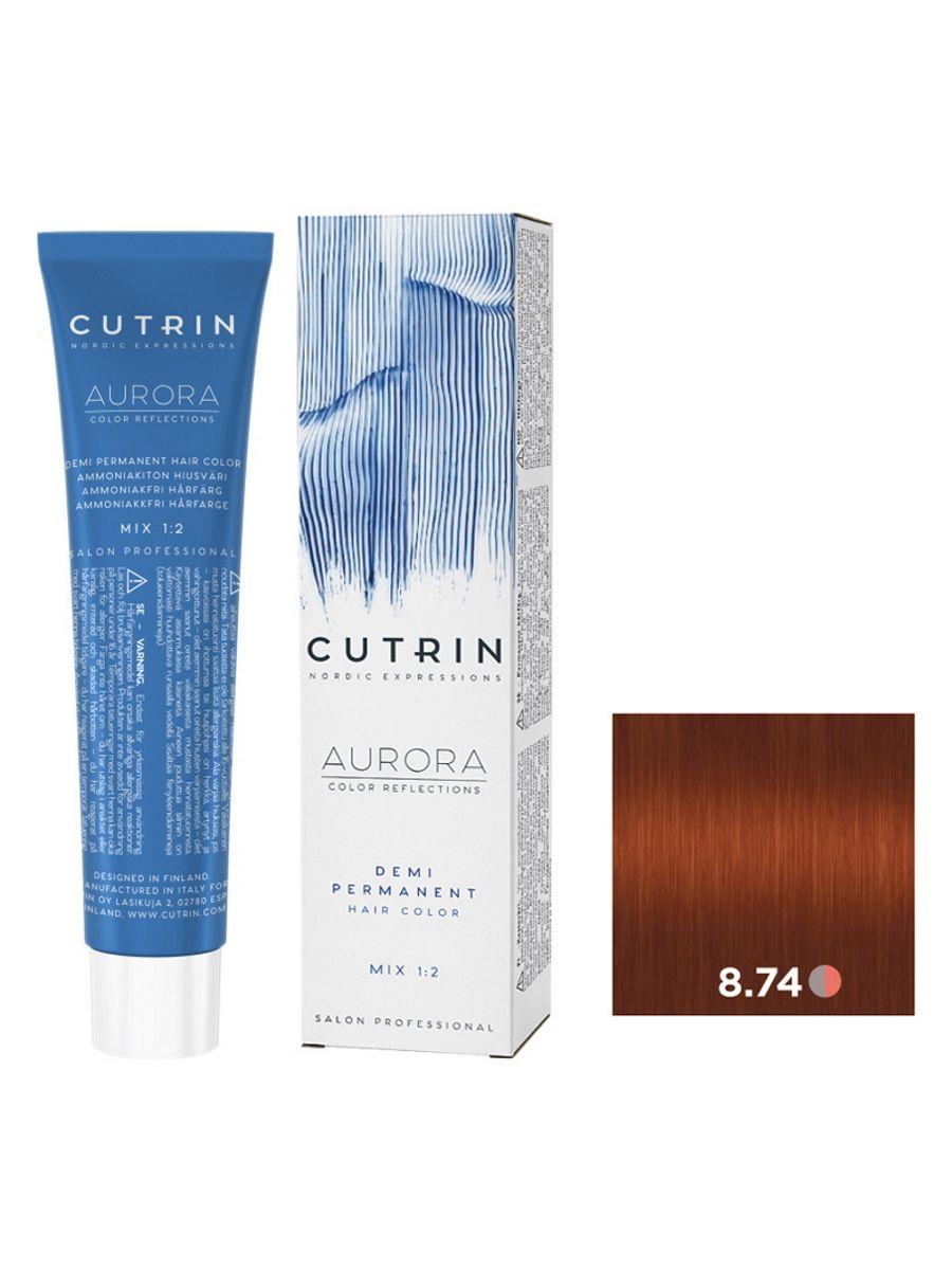 Купить Крем-краситель AURORA DEMI PERMANENT для окрашивания волос CUTRIN 8.74 карамель 60 мл