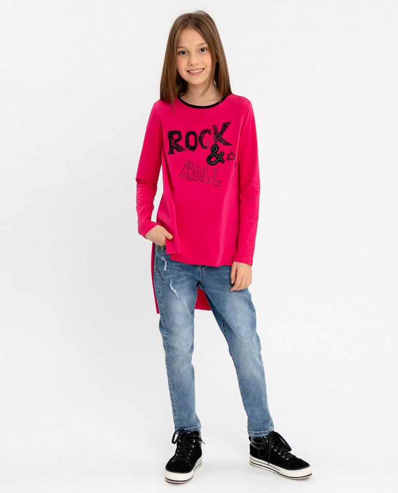 Туника с удлиненной спинкой для девочек Gulliver, цв. розовый, р-р 164
