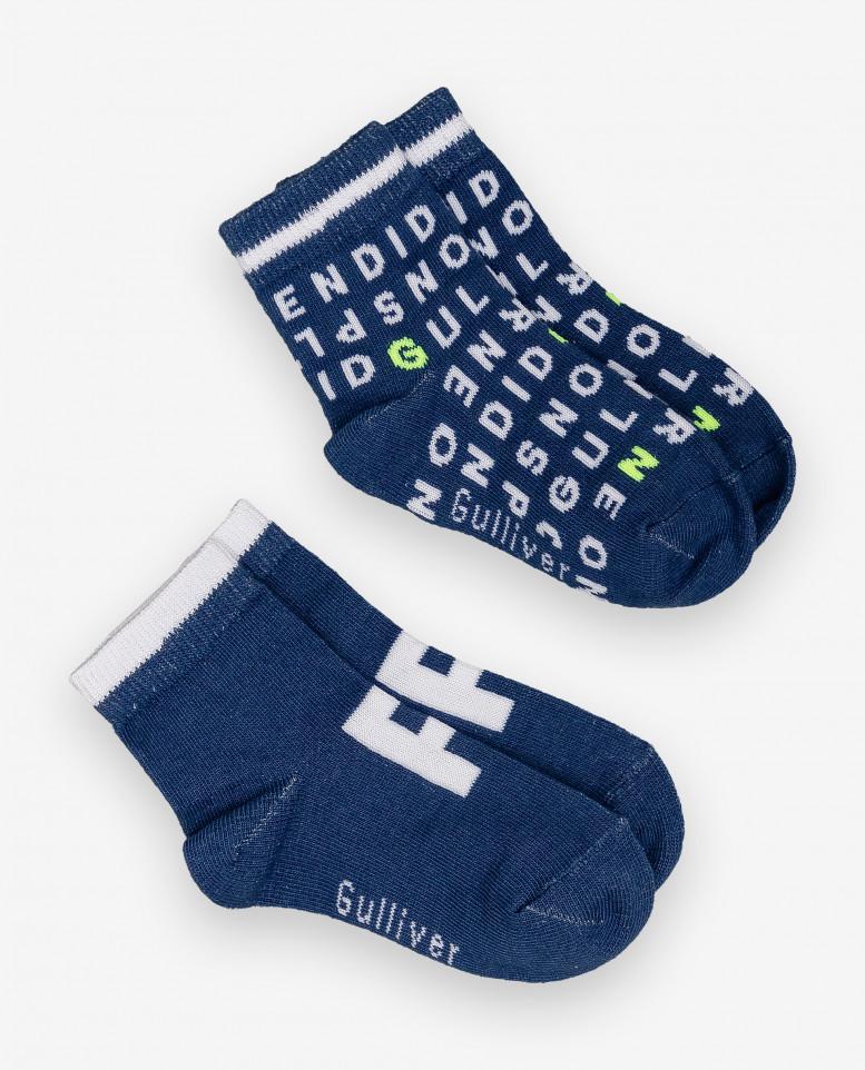 Купить 12034BBC8502, Комплект носков 2 пары для мальчиков Gulliver, цв. синий, р-р 12-14, Носки для мальчиков