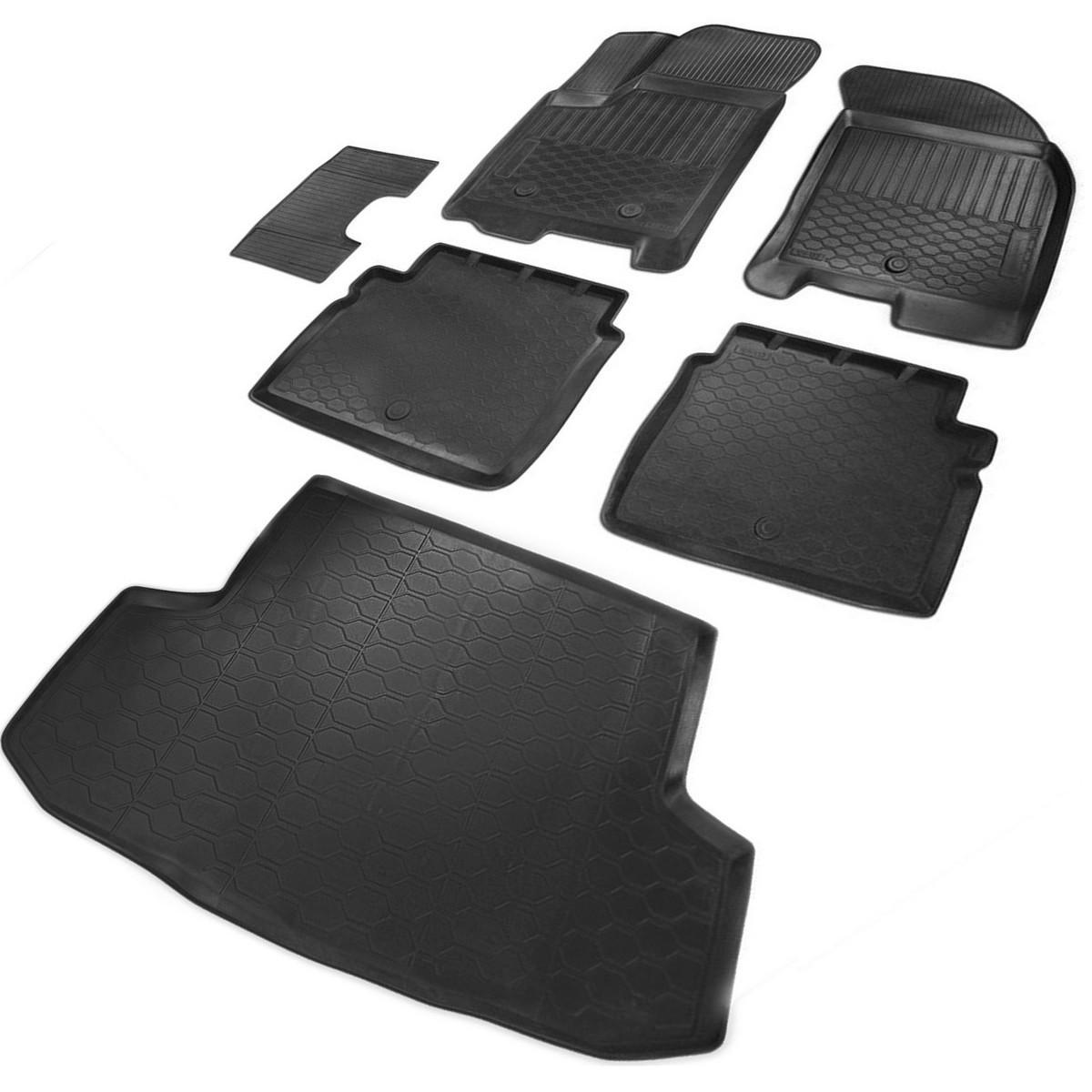 Комплект ковриков салона и багажника Rival Chevrolet Aveo I T200Ravon Nexia R3 седан, поли