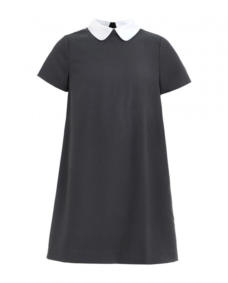 Платье со съемным воротничком для девочек Gulliver, цв. серый, р-р 134 219GSGC2506