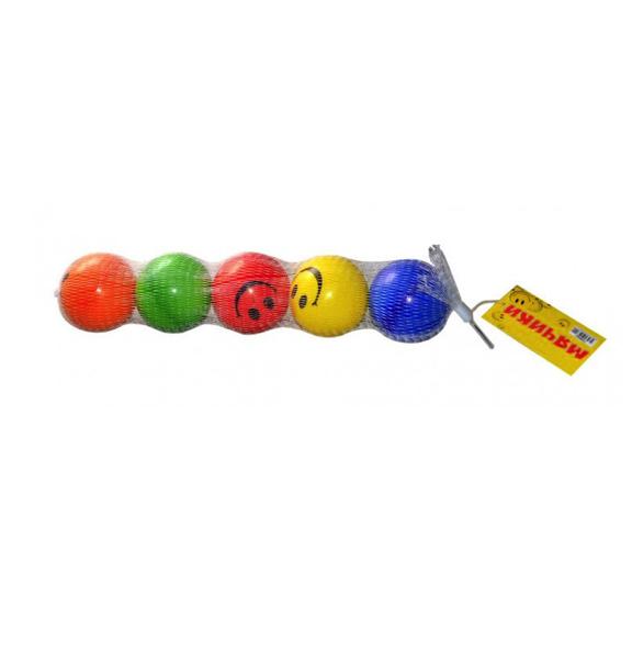 Набор мячей PU, смайлик, 6см/5шт в сетке (Т59842) 1 TOY
