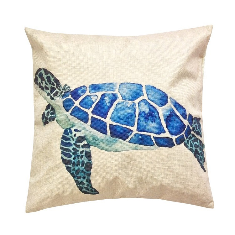 Декоративная подушка Морская черепаха бежевая 45х45 см 5S-PILLOW-93