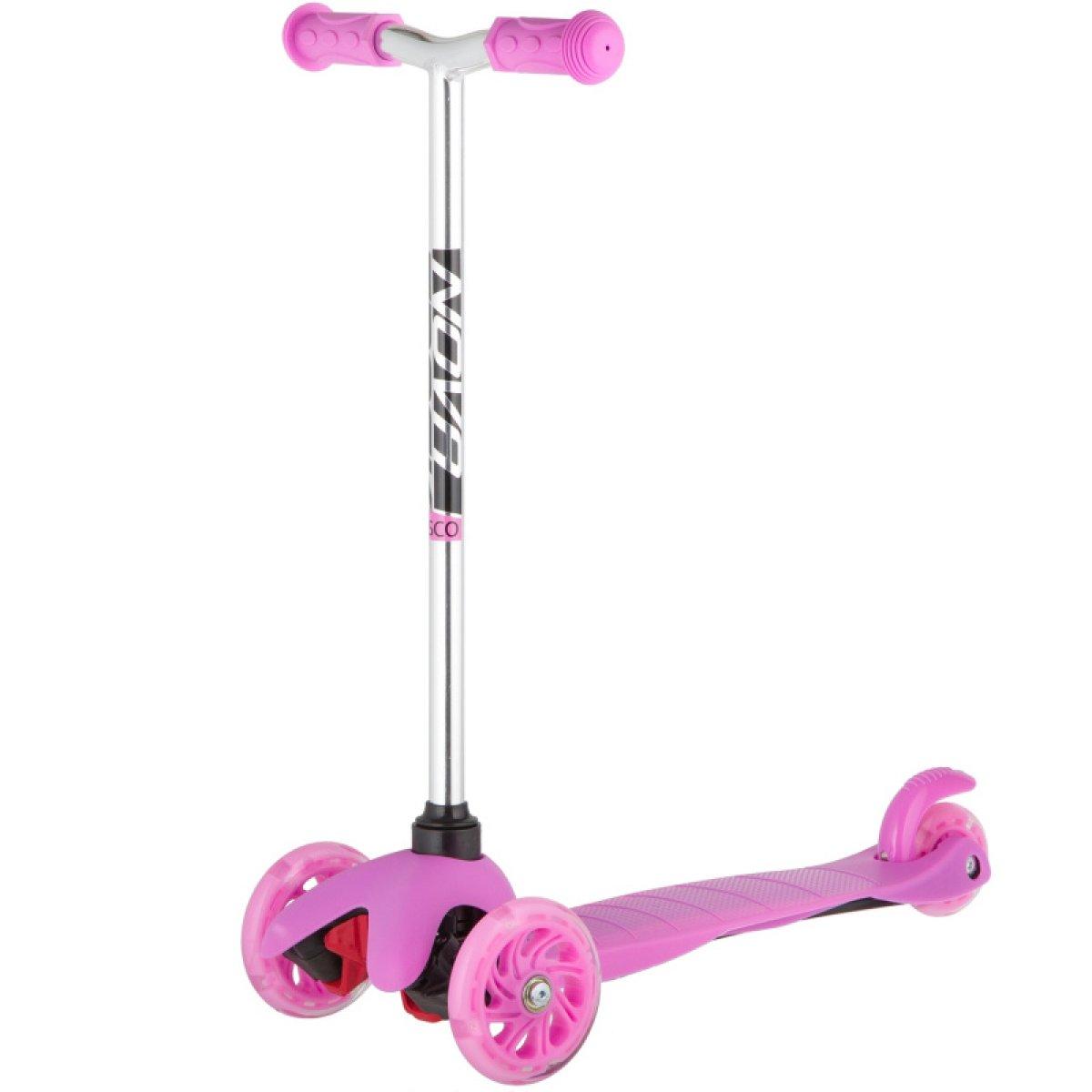 Купить Самокат-кикборд Novatrack Disco-kids Basic розовый,