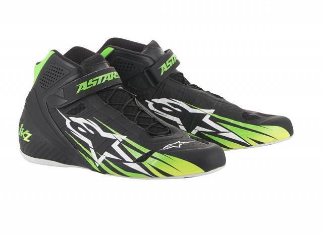 Ботинки для картинга TECH 1 KZ, чёрный/зелёный/жёлтый,