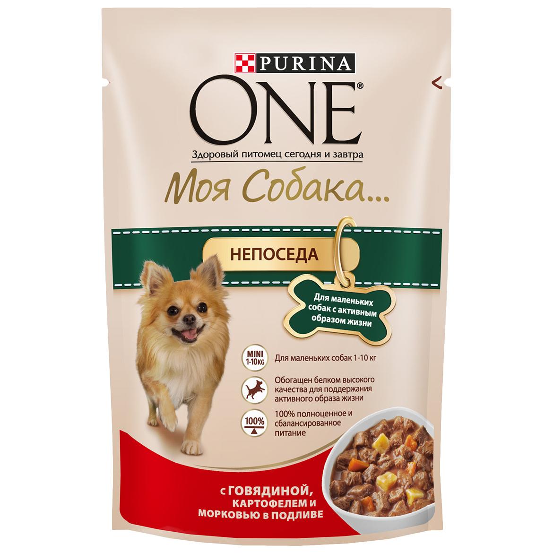 Влажный корм для собак Purina One Моя Собака...Непоседа, говядина, картофель, морковь,100г
