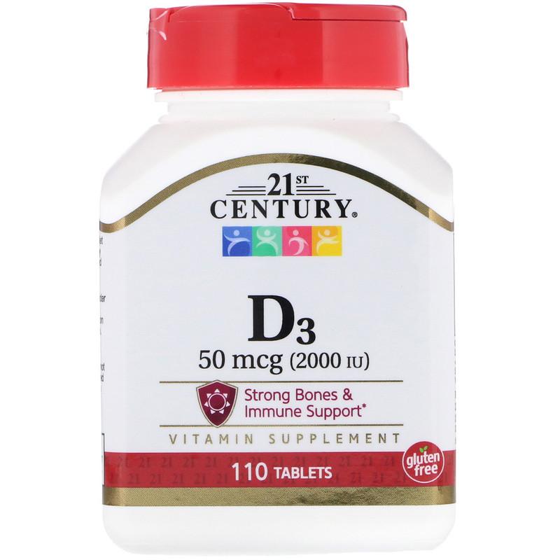 Купить Витамин D3 2000 ME, Витамин D3 21st Century 50 мкг 2000 ме капсулы 110 шт.