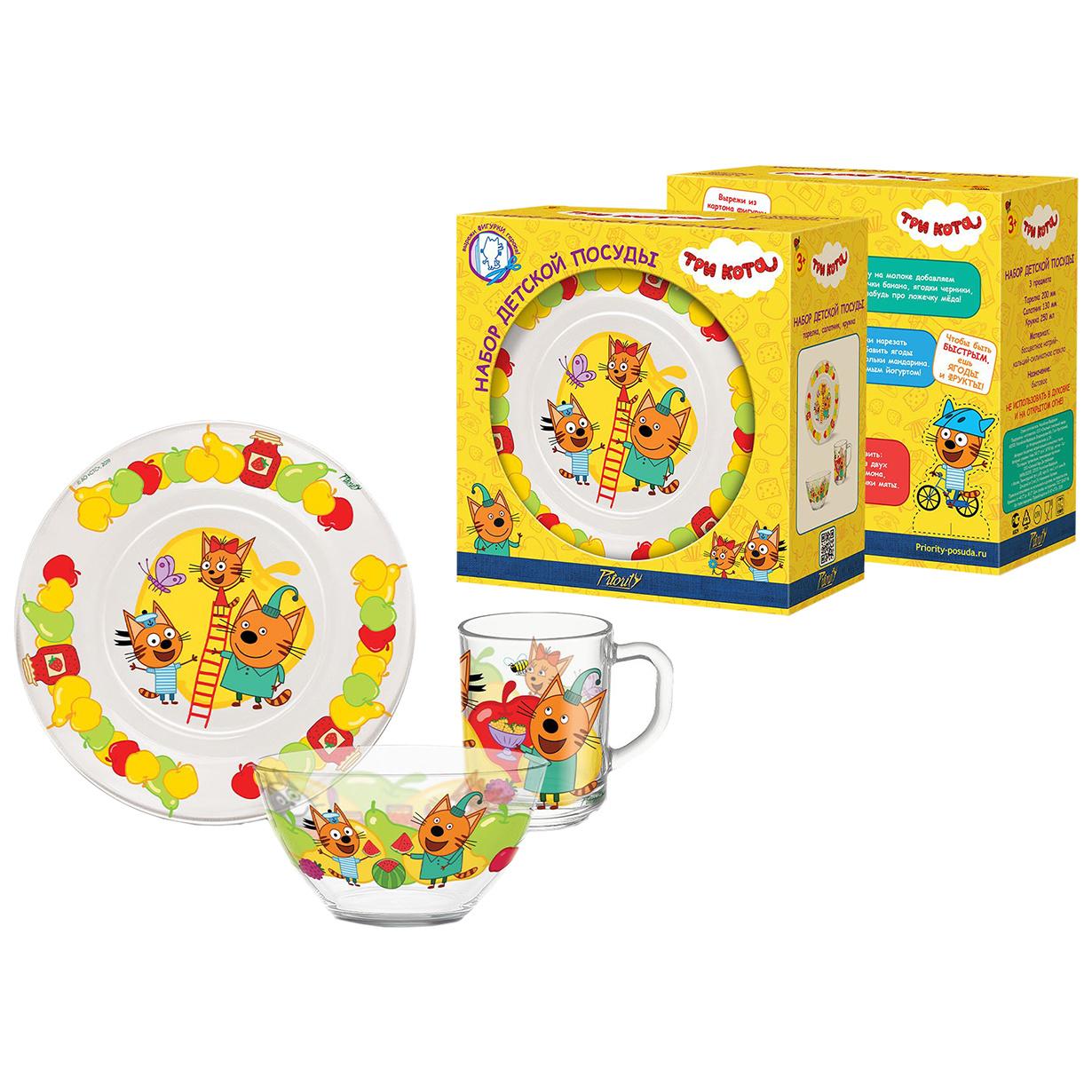 Купить Набор детской посуды Приор Групп Три кота фрукты 135459-TN,
