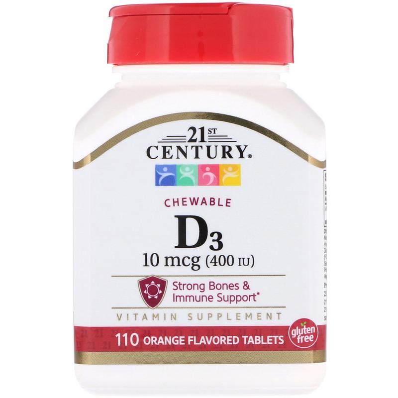 Купить Витамин D3 апельсин, Витамин D3 21st Century 400 ме жевательные таблетки 110 шт. апельсин