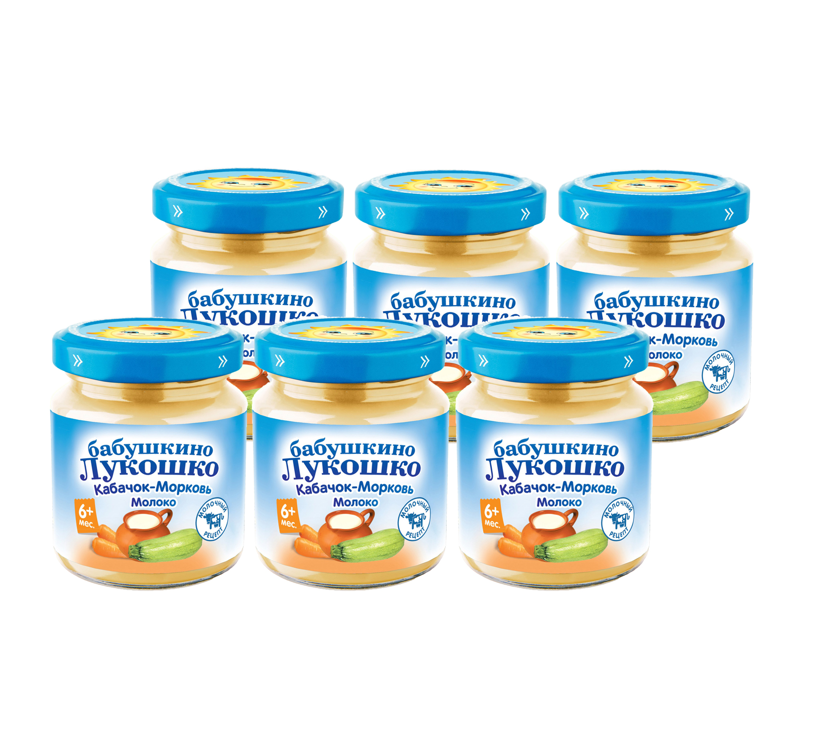 Купить Кабачок с морковью и молоком, Пюре Бабушкино лукошко кабачок с морковью и молоком с 5 мес. 100 г 6 шт., Бабушкино Лукошко,